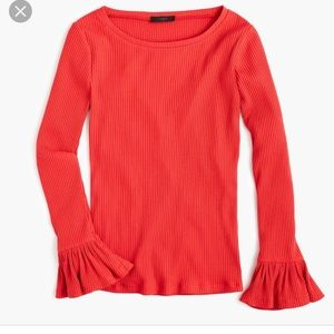 J.Crew. Red Ribbed Bell-sleeve Top sz S A3
